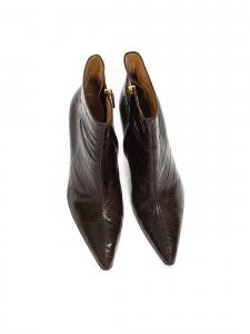 Bottines à talon en cuir embossé croco marron Prix boutique 600€ Taille 36,5