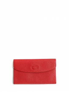 Pochette clutch en cuir grainé rouge tulipe Prix boutique 150€