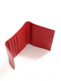 Tulip red pebbled leather trifold wallet clutch Retail price €150