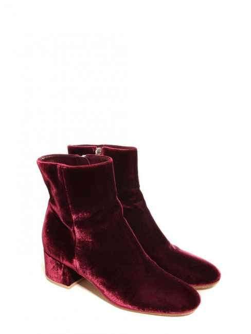 MARGAUX Burgundy red velvet ankle boots NEW Retail price €860 Size 39.5