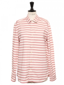 Light pink rose and ecru white striped long sleeve shirt Size 38