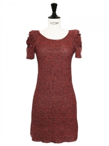 Red linen and lurex FARIDOLE dress Retail price €200 Size 36