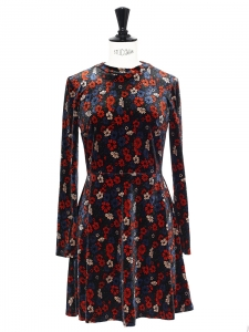 Floral printed velvet long sleeved dress Size S