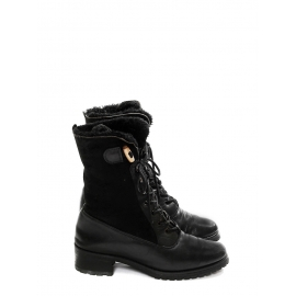 Black shearling-trimmed suede and leather Ranger boots Retail price €550 Size 39
