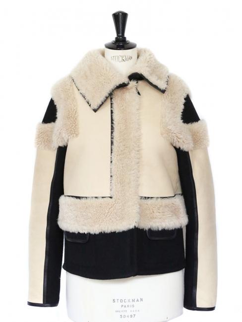 Manteau veste réversible en fourrure et peau de mouton écru et noir Px boutique 2850€ Taille 36