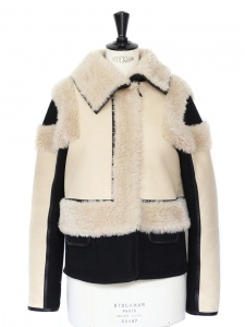 Reversible ecru and black shearling and wool jacket NEW Retail price €2850 Size 38