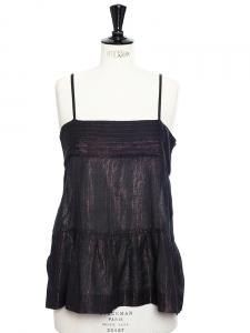 Débardeur à fines bretelles en coton noir imprimé paillettes multi-color Taille 38
