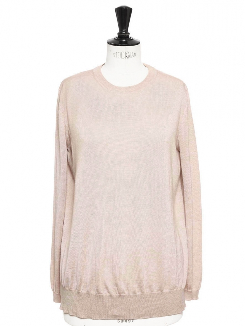 Dusty pink lace-trimmed cashmere and silk-blend sweater Retail price €650 Size 38