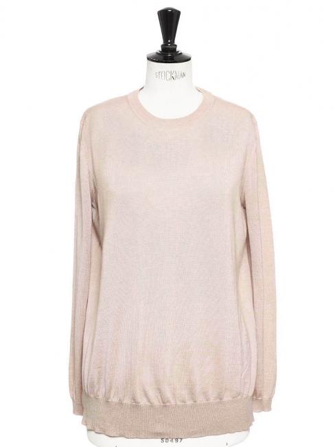 Pull en cachemire et soie rose anglais et détail dentelle Prix boutique 650€ Taille 38