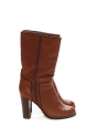 Cognac brown leather boots with wooden heel Retail price €800 Size 39.5