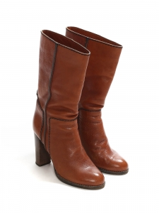 Cognac brown leather boots with wooden heel Retail price €800 Size 40