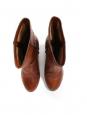 Bottes EDITH en cuir marron cognac et talon bois Prix boutique 800€ Taille 40