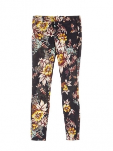 Ligt pink, burgundy, yellow and navy blue floral print slim fit pants Retail price €160 Size 34