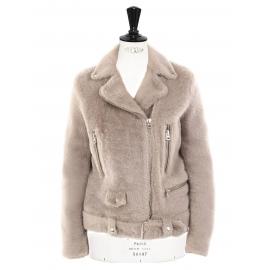 Veste biker shearling jacket MERLYN beige NEUVE Prix boutique 1900€ Taille M
