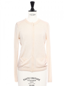 Champagne beige silk and cashmere fine cardigan Retail price €450 Size XS