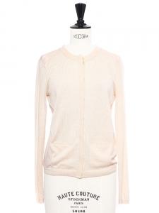 Gilet fin en cachemire et soie beige rosé Prix boutique 450€ Taille 34