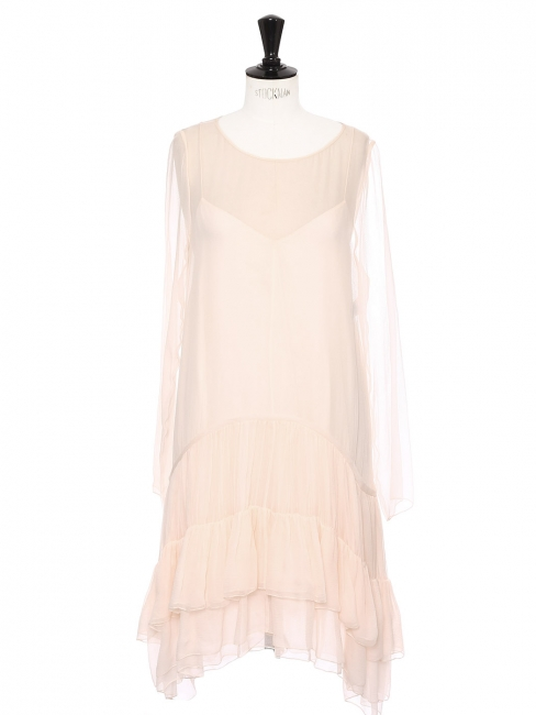 Powder pink silk chiffon and ruffles long sleeves dress Retail price €2415 Size 36