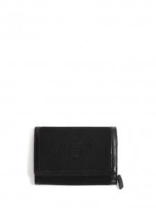 Portefeuille carré en cuir et toile noir NEUF Px boutique 550€
