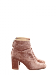 Bottines à talon épais en velours rose NEUVES Taille 38