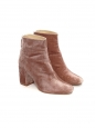 High heel pink velvet ankle boots NEW Size 38