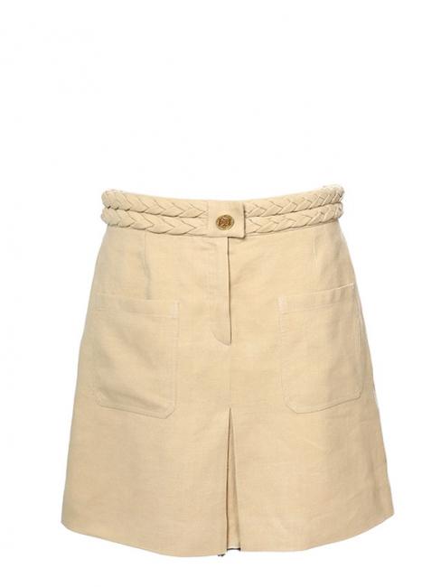 Jupe ceinture tressée en ramie, lin et soie beige rosé Px boutique 850€ Taille 40