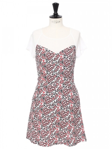 Black red and white printed chiffon short sleeves dress Size 36
