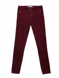 Burgundy red velvet slim fit pants Retail price €150 Size 38