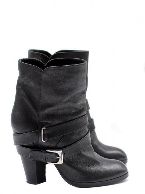 Bottines Biker ankle boots en cuir noir Px boutique 600€ Taille 37,5