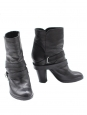 Biker ankle boots in black leather Retail price 600€ Size 36