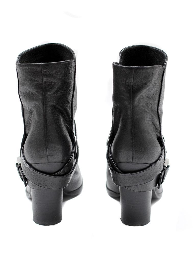 7ecbd08635b8f4 ... Bottines Biker ankle boots en cuir noir Px boutique 600€ Taille 36 ...