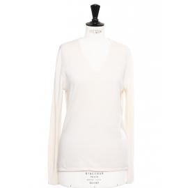 Pull col V en cachemire blanc crème Px boutique 250€ Taille 38