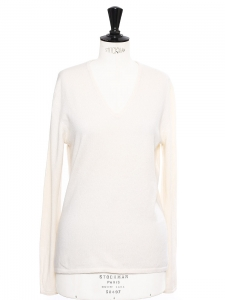 Cream white cashmere blend V neck sweater Retail price €200 Size S