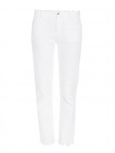 Pantalon taille haute à franges en denim blanc NEUF Prix boutique 365€ Taille 38
