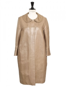 Vanilla beige leather Peter Pan collar coat Retail price €3000 Size S/M