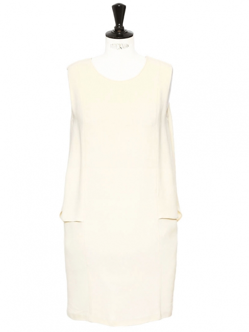 Off white crepe sleeveless dress Retail price €700 Size 36