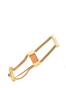 Quartz-like stone golden brass cuff bracelet Retail price €150 Unique size