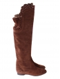 Brown suede scallop cutout over-the-knee flat boots Retail price €1200 Size 39.5