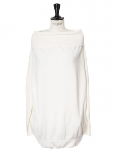 Cream white off-the-shoulder wool sweater Retail price €650 Size 36