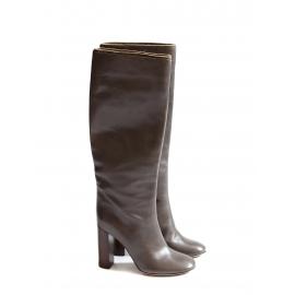 Bottes hautes à talon bois en cuir marron foncé Prix boutique 1000€ Taille 38,5