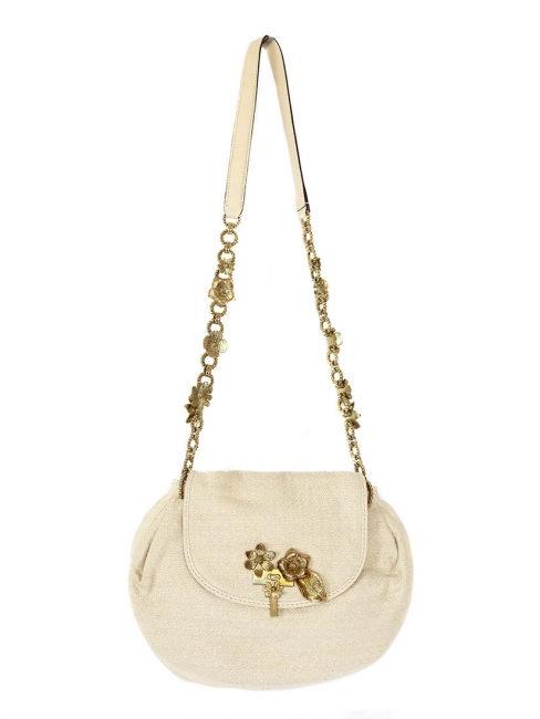 Evening bag in beige cotton with gold flowers Retail price €950