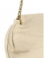 Evening bag in beige cotton with gold flowers