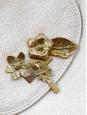 Sac du soir en coton beige à fleurs dorées