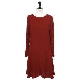 Crimson red crepe long sleeves dress Retail price €900 Size 36/38