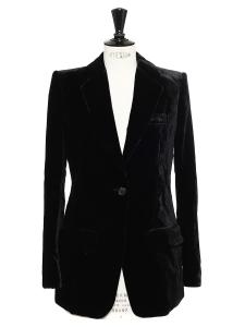Black velvet blazer jacket Retail price €1300 Size 36