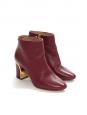 Bottines BECKIE en cuir rouge bordeaux et finitions dorées NEUVES Px boutique 545€ Taille 36