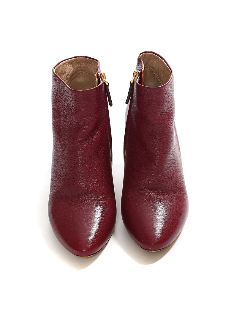 code promo cbaea 5dccf Louise Paris - CHLOE Bottines BECKIE en cuir rouge bordeaux ...