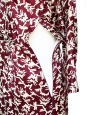 Burgundy red silk with ecru graphic print long sleeves dress Size 36