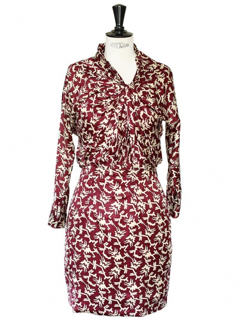 Burgundy red silk with ecru graphic print dress Retail price €450 Size 36