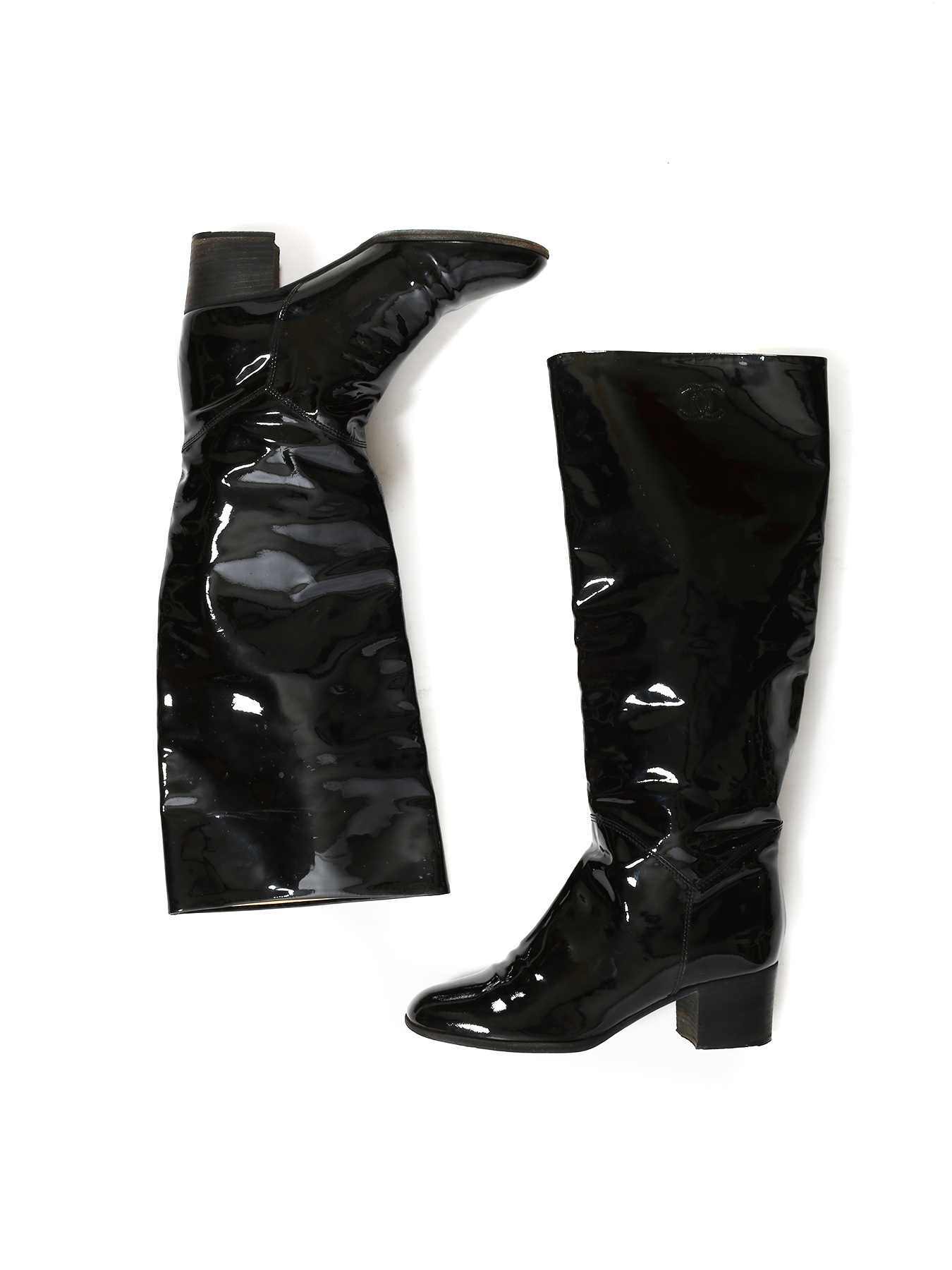 ba8c67e50bb ... Black patent leather knee high boots Retail price €1300 Size 36.5 ...