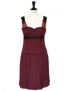 Burgundy sleeveless silk crepe dress Retail price around €1700 Size 40